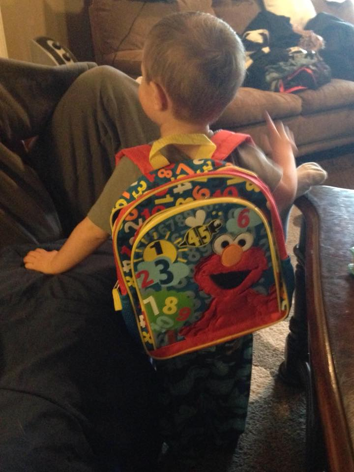 Your Elmo backpack is ready when you are. Wish you would just jump out from hiding in the hallway and scare us in the best way we could ever imagine. I love you, Baby Boy. One day.