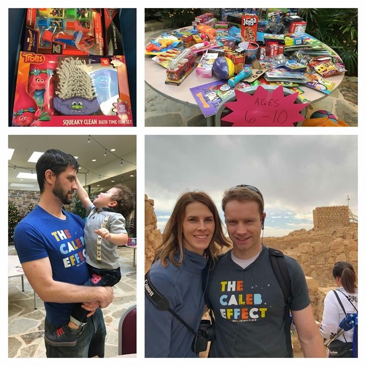 Were you Nice on the 9th? We know some faithful volunteers who were but the photographer failed to capture some of them. Also, I'm pretty sure this beautiful couple wins the prize for spreading The Caleb Effect the farthest this 9th. Our dear friends,  Christian  and  Gabrielle  went to Israel and showed Caleb around!! — with  Jacob