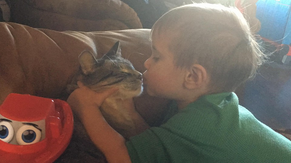 Caleb and his rescue kitty, Smudge