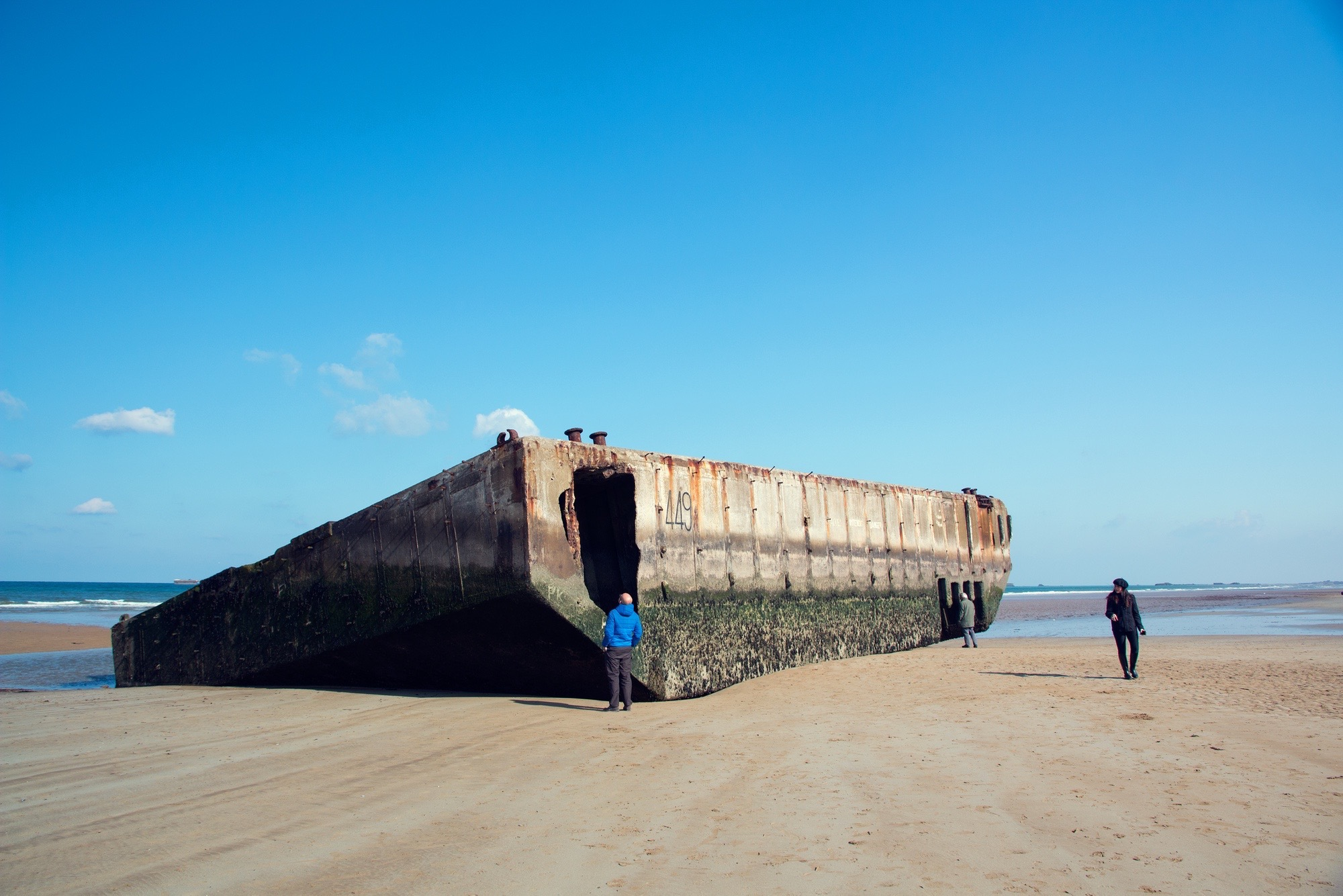 Meeting the 'Mulberry Harbour', Arromanches, France.