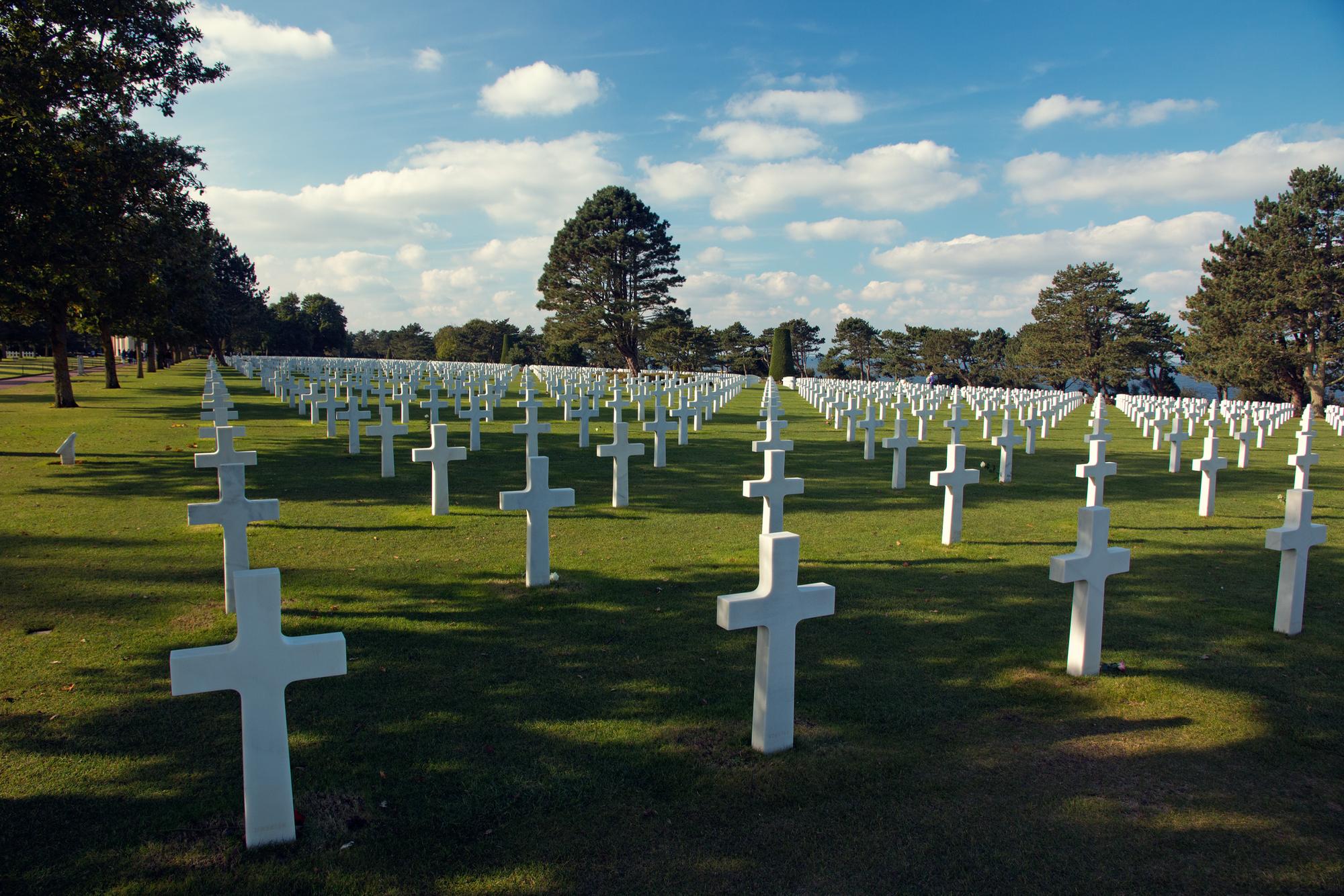 Unnerving symmetry,  American War Cemetery at   Colleville-sur-Mer, France.