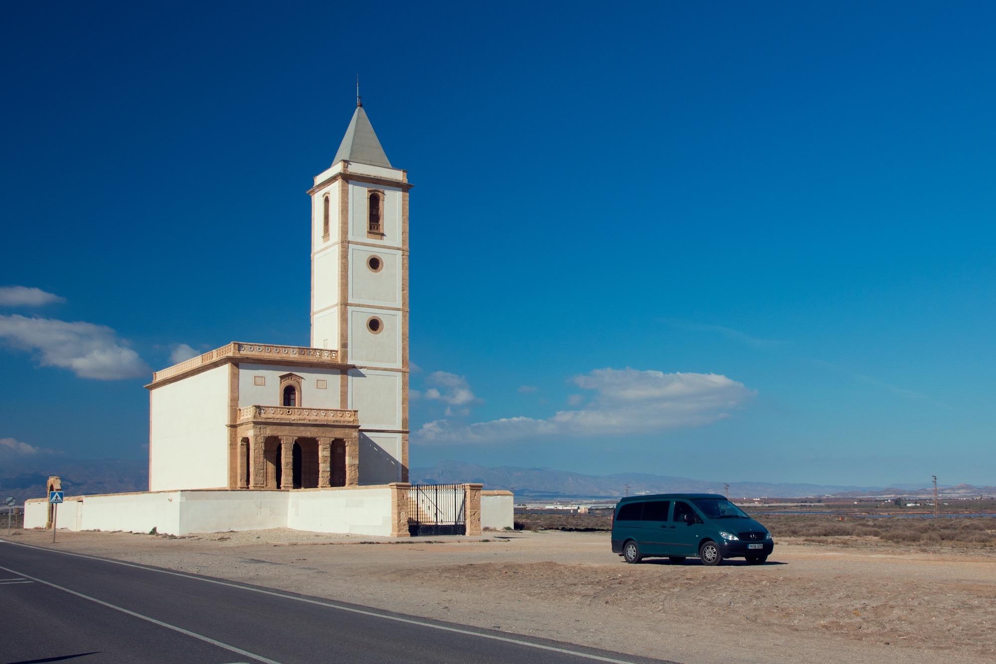 Karen being all churchy,  Cabo de Gata, Spain.