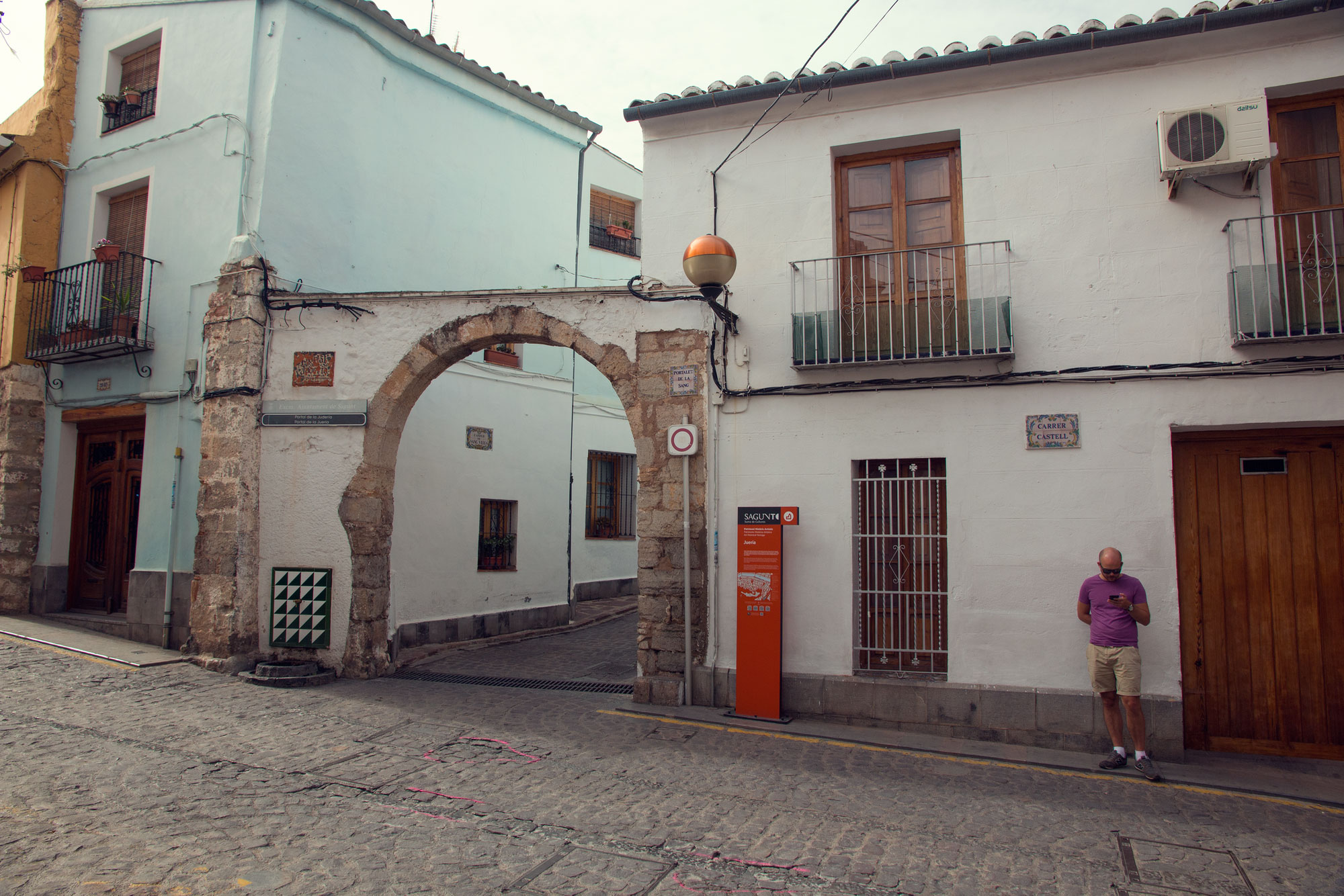The archway into the old Jewish Quarter, Sagunt, Spain.