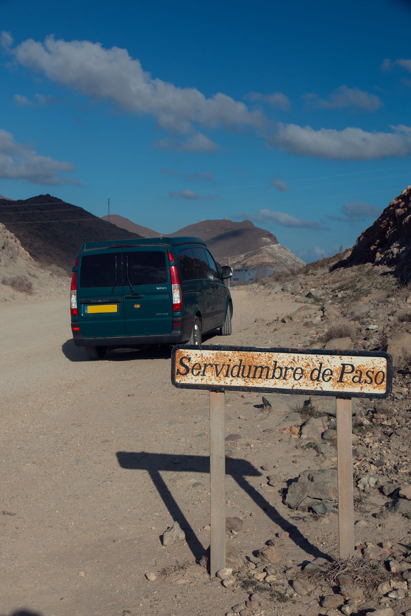 Karen the Van on the road to Playa de Los Genoveses... she loves a bit of off-roading. Dale constantly worries about her tyres though!