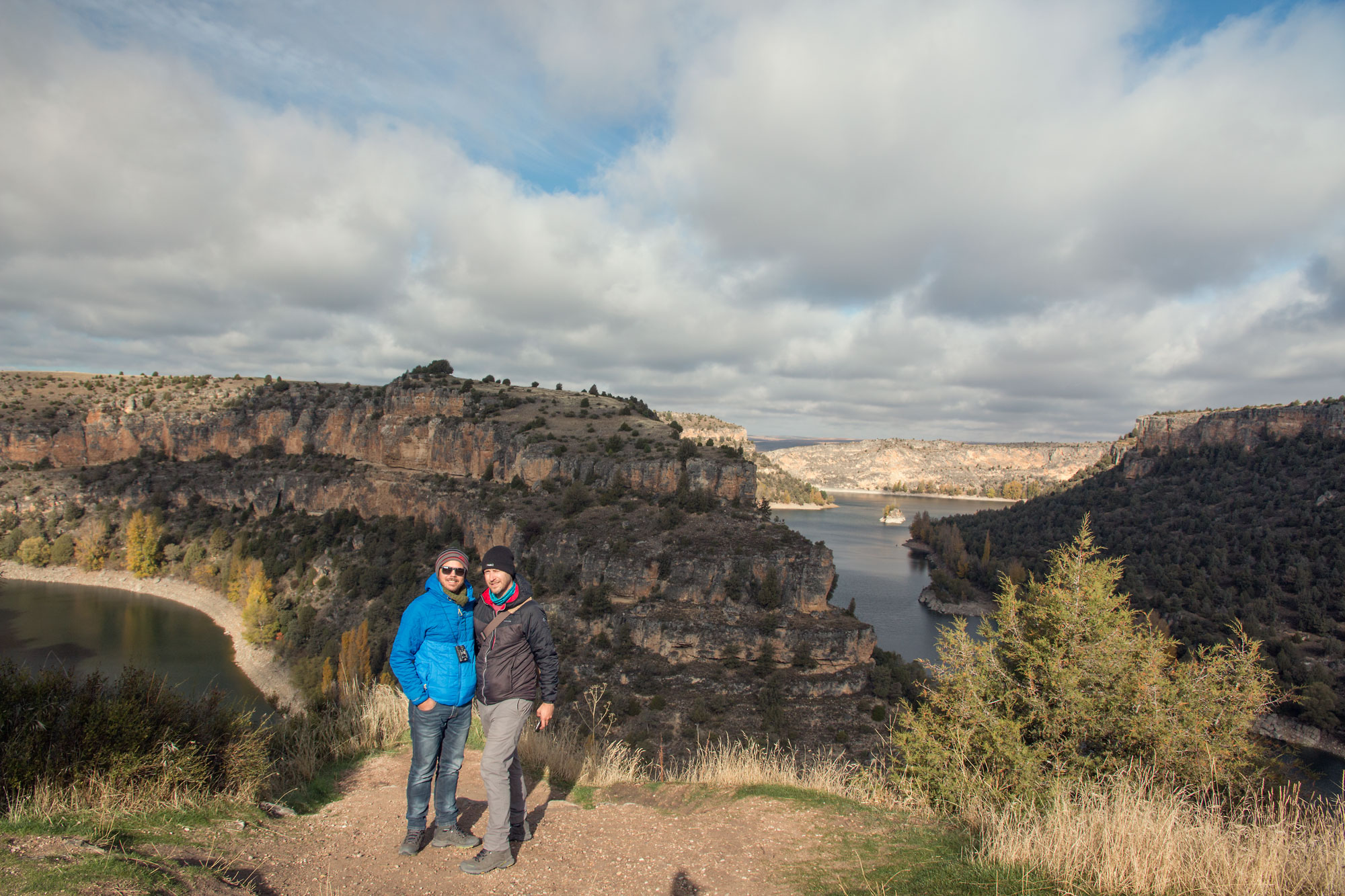 Us on the edge of the gorge at the San Frutos Hermitage, Spain.