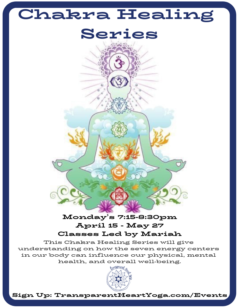 """Tap Into Your Chakras - This Chakra Healing Series will give understanding on how the seven energy centers in our body can influence our physical, mental health, and overall well-being. Chakras Meaning: """"wheels of light"""" in Sanskrit. When they are balanced— we are in alignment with our body, mind, and spirit. The series will begin with the first chakra, Root or Muladhara. All classes will end with a guided meditation and yoga sequence for that specific energy center.Led by Mariah NortonMondays, April 15th-May 27th 7:15-8:30pmSeries Cost: $125SIGN UP HEREQuestions? please email CourtneyFirst Time at the studio? Please complete your Digital Waiver first.Using your phone to sign-up? Download the Schedule Bliss App HERE for iPhone or HERE for Android"""