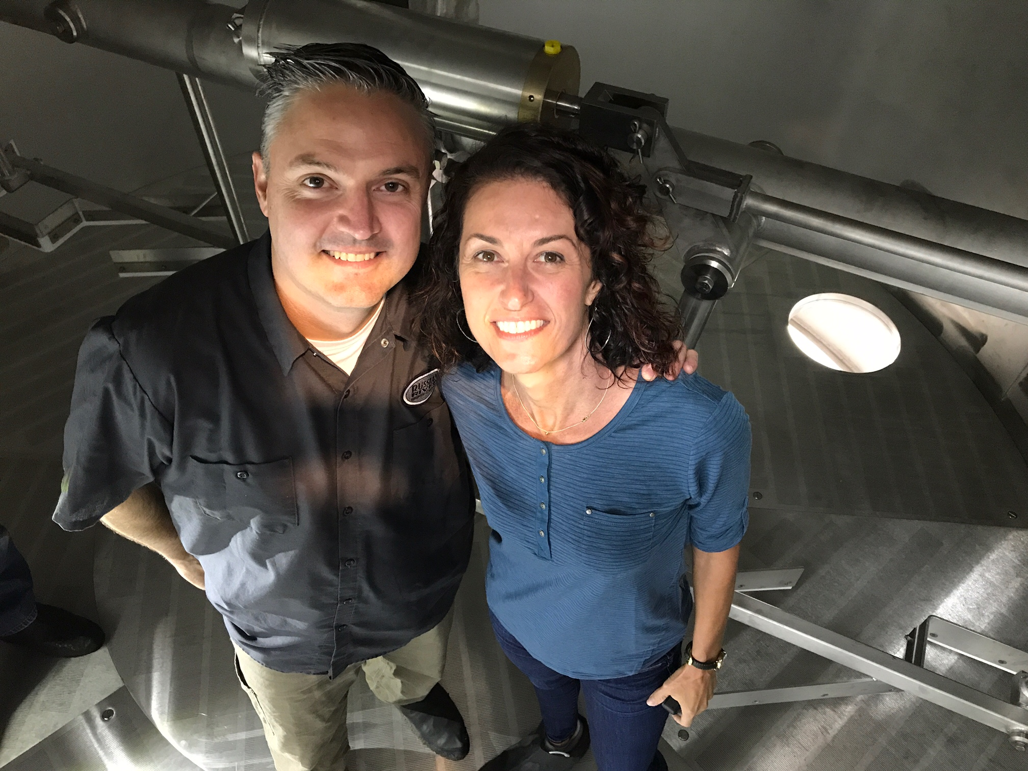 Vinnie & Natalie getting up close and personal with the new brewhouse!