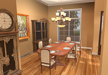 Furnishings   Each VR home will be fully furnished and decorated. Walls painted, fixtures in place, and artwork and plants will be placed throughout.