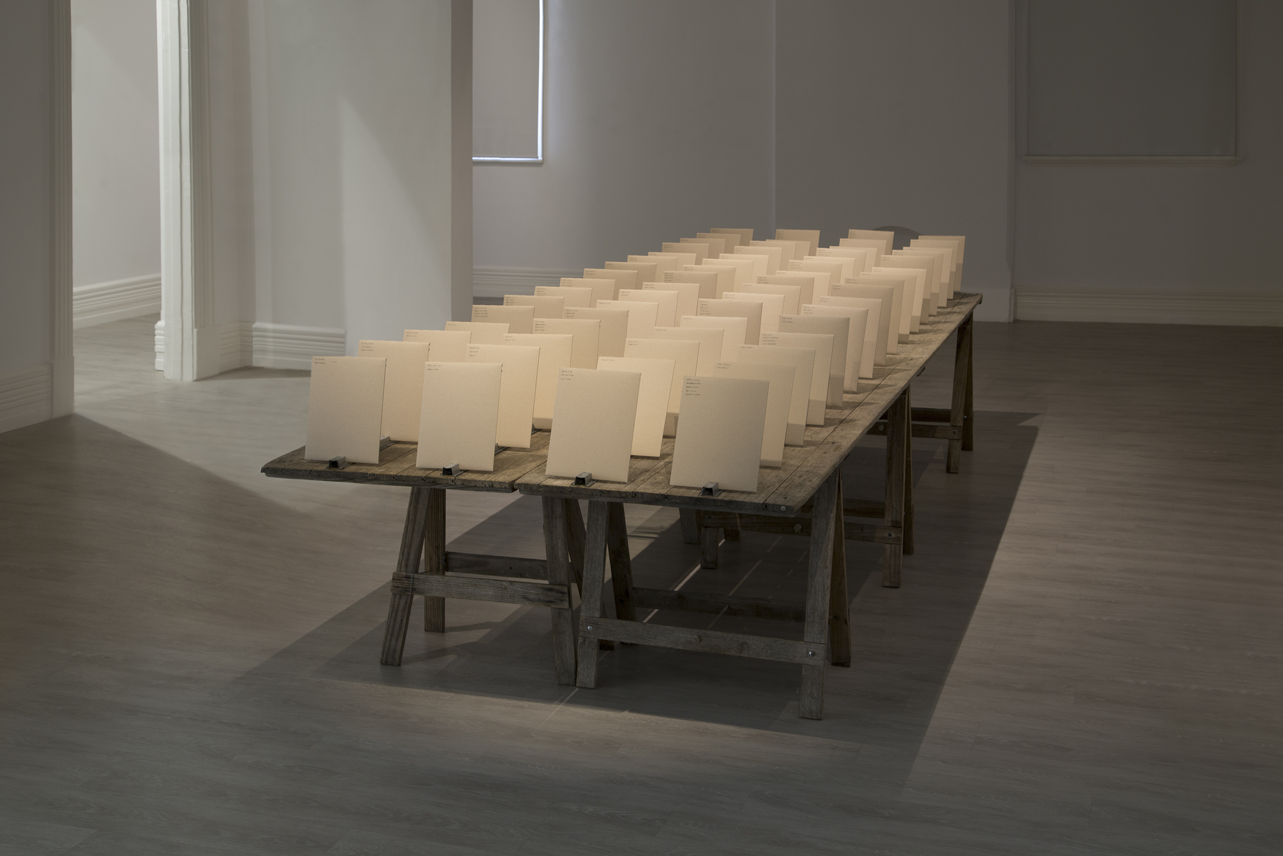 A Continued Conversation  Murray Art Museum Albury January 17 - February 19, 2017 162 archival pigment prints, 64 letters, recycled galvanized steel, 64 envelopes on wood trestle tables