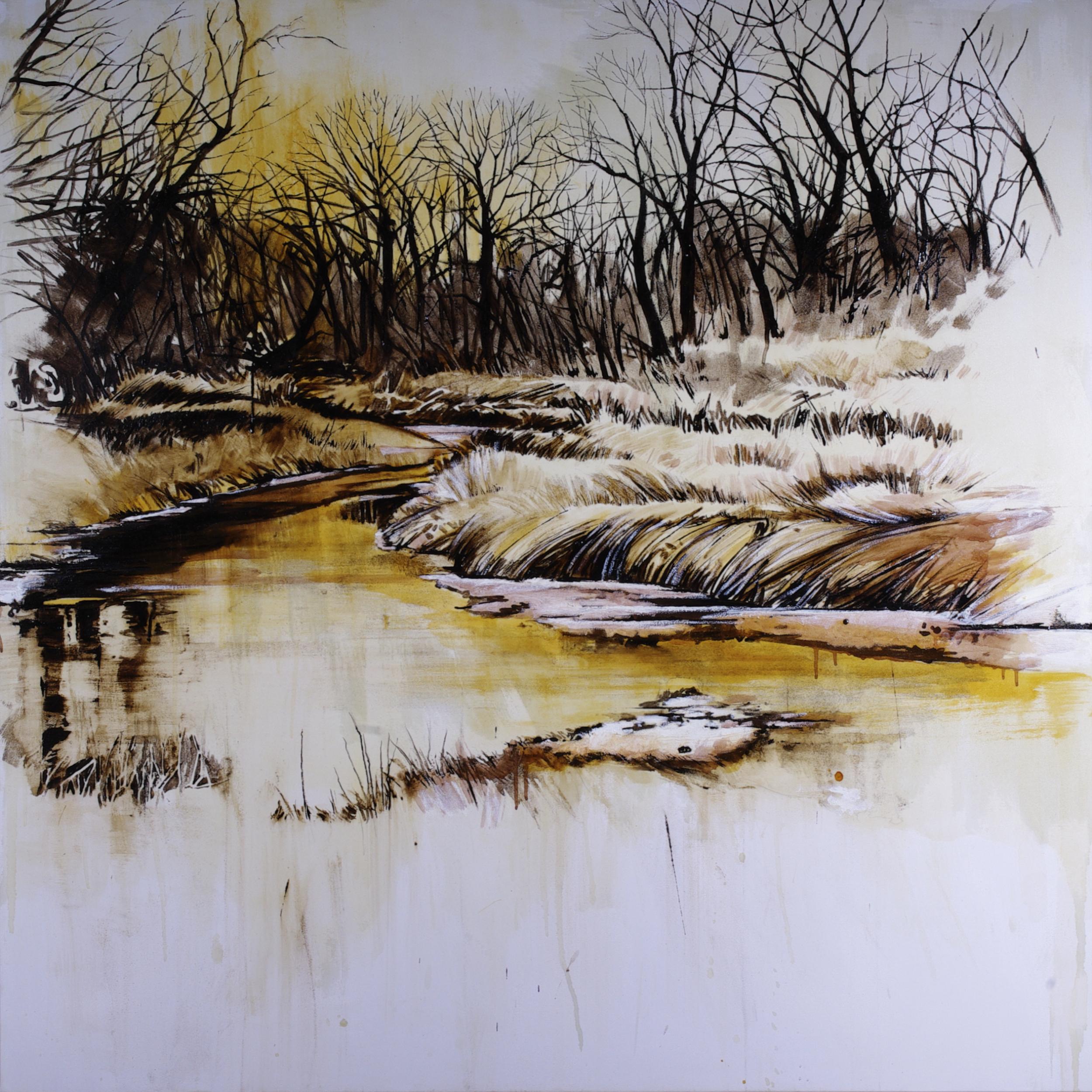 "Waterway #6 © Karen Kitchel 2016 ; 50""x50""; asphalt emulsion, tar, oil, wax, shellac/canvas"