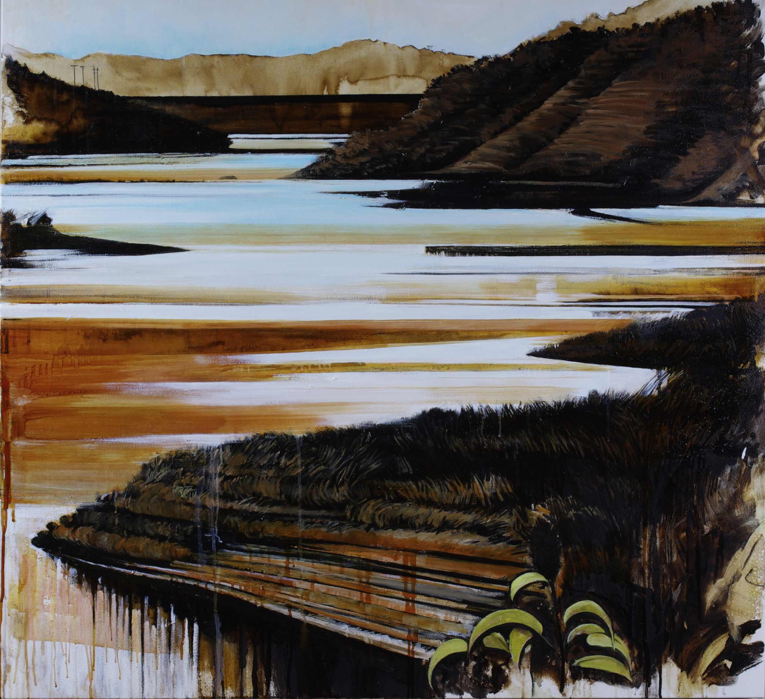 """Waterway #8 (Lake Casitas); Karen Kitchel©2018, 50""""x50"""", asphalt emulsion, oil, wax, powdered mineral pigments, shellac/canvas"""