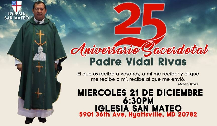December 21, 2016 Celebration of the 25th Anniversary of the Priesthood of Father Vidal Rivas