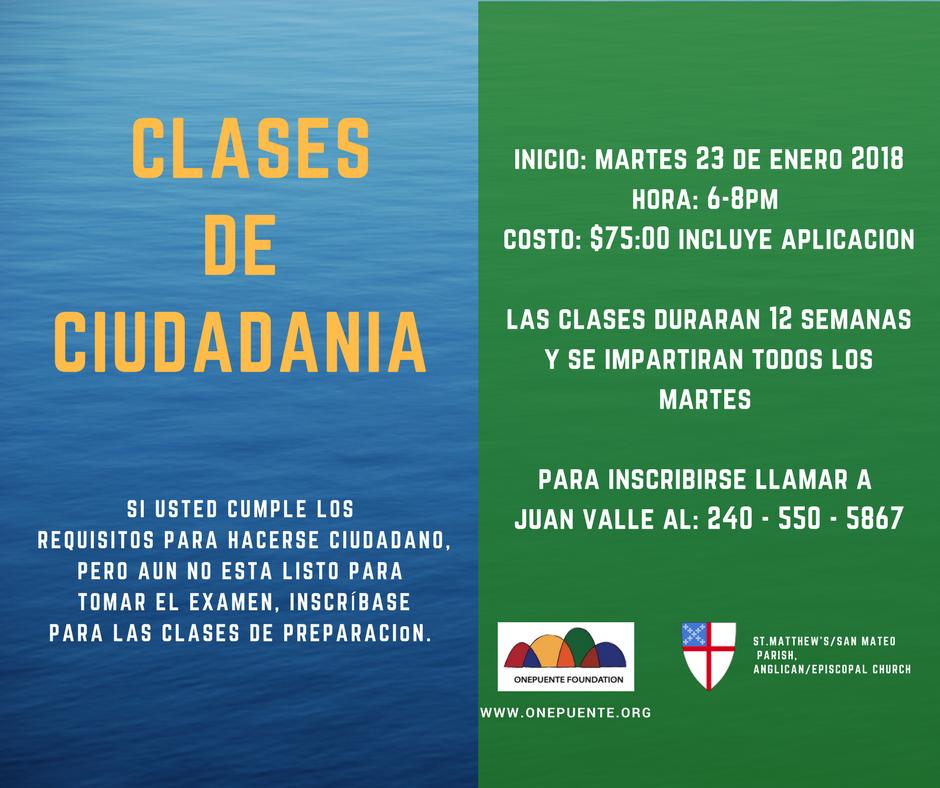 Clases de Ciudadania Inicio 23 de enero 2018 / Citizenship Classes begin January 23, 2018