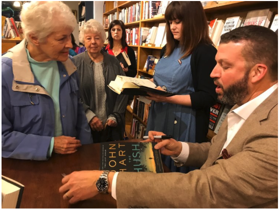 John Hart signs his bestseller  The Hush  for South Main Book Company fans.