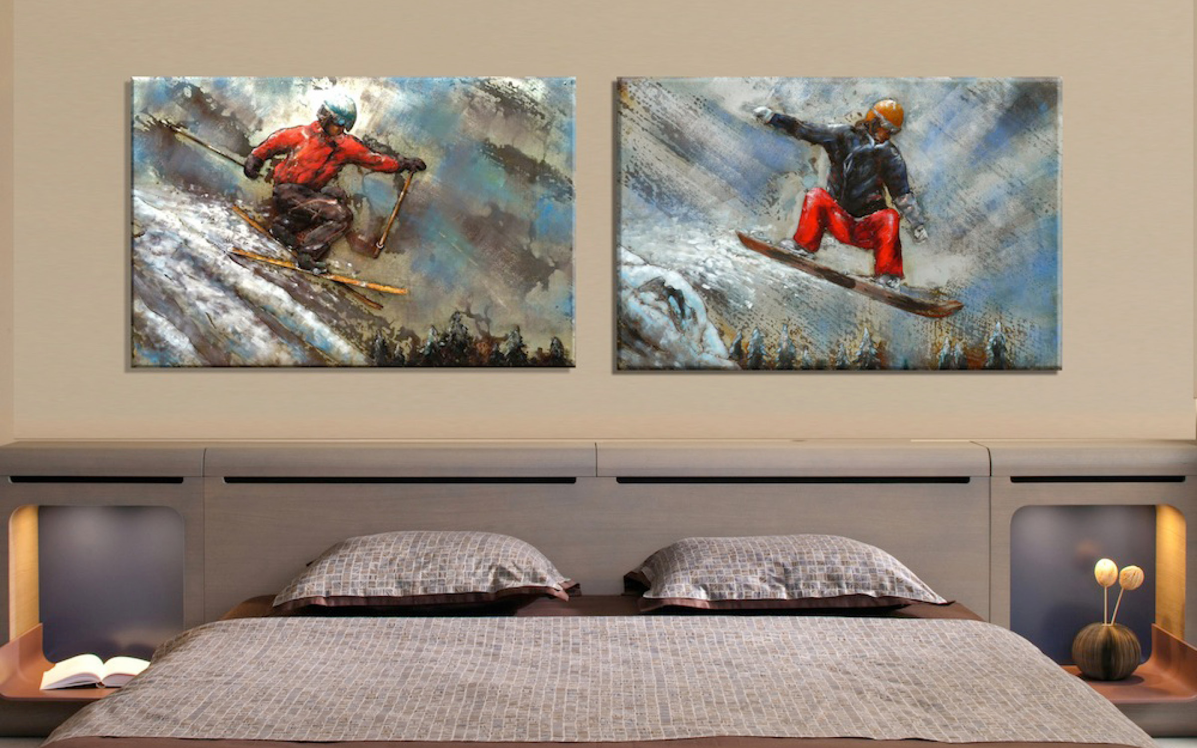 Metal Skier and Snowboarder Artwork Mountain Home | iFurnish, Frisco, CO