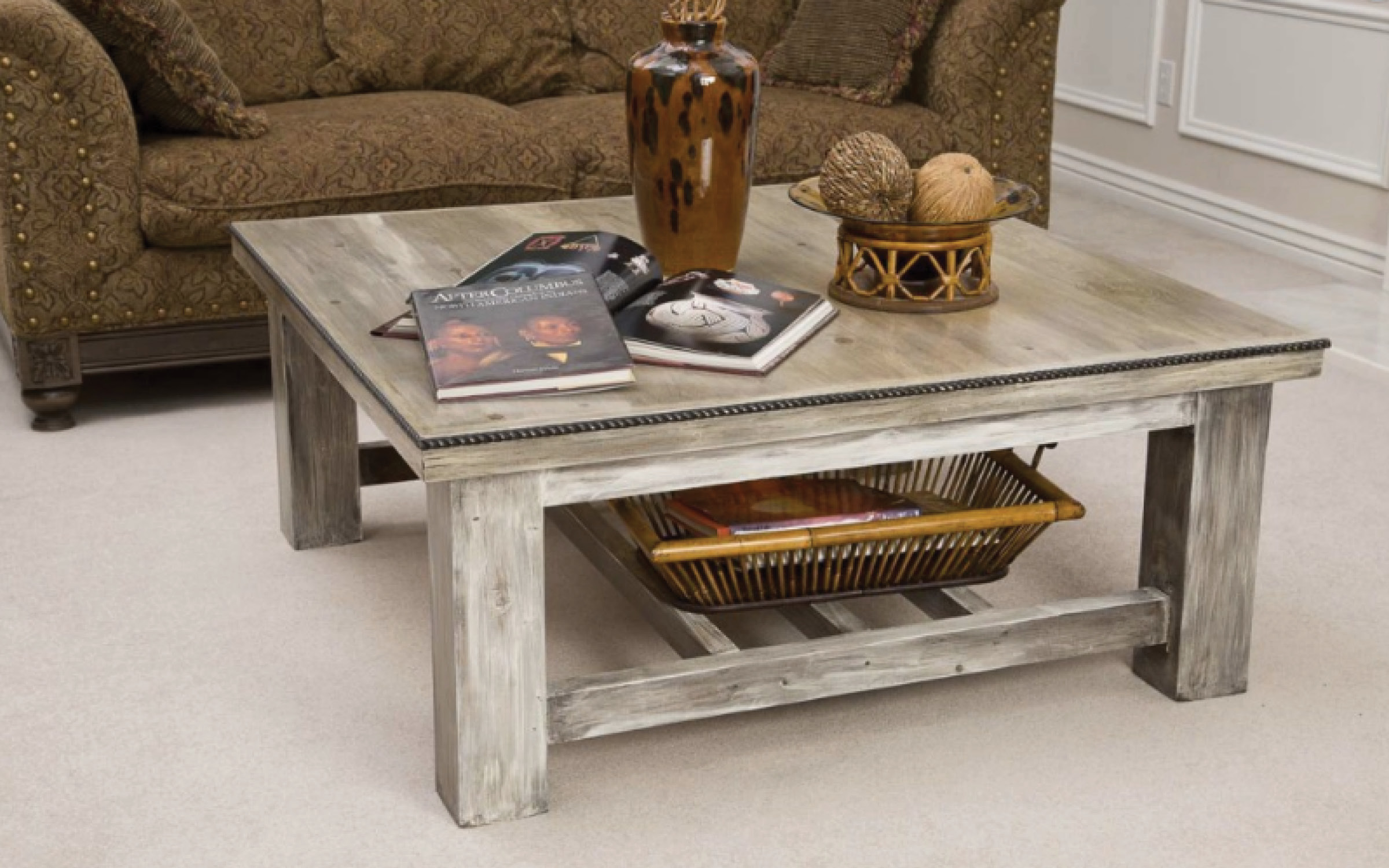 Rustic White Wood Coffee Table Utah Mountain Furniture
