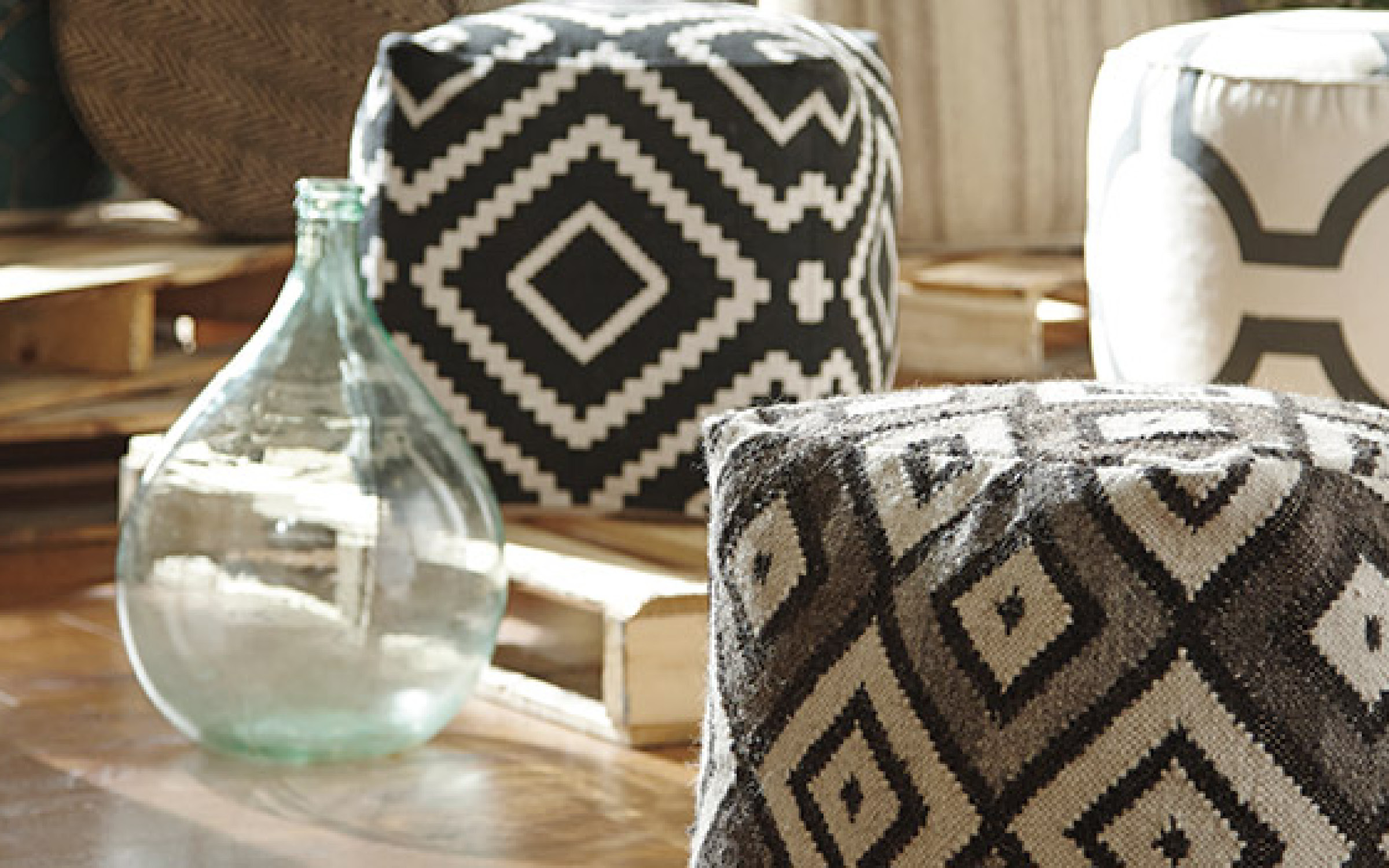 Modern Geometric Pouf Home Accent Decor | iFurnish, Frisco, CO