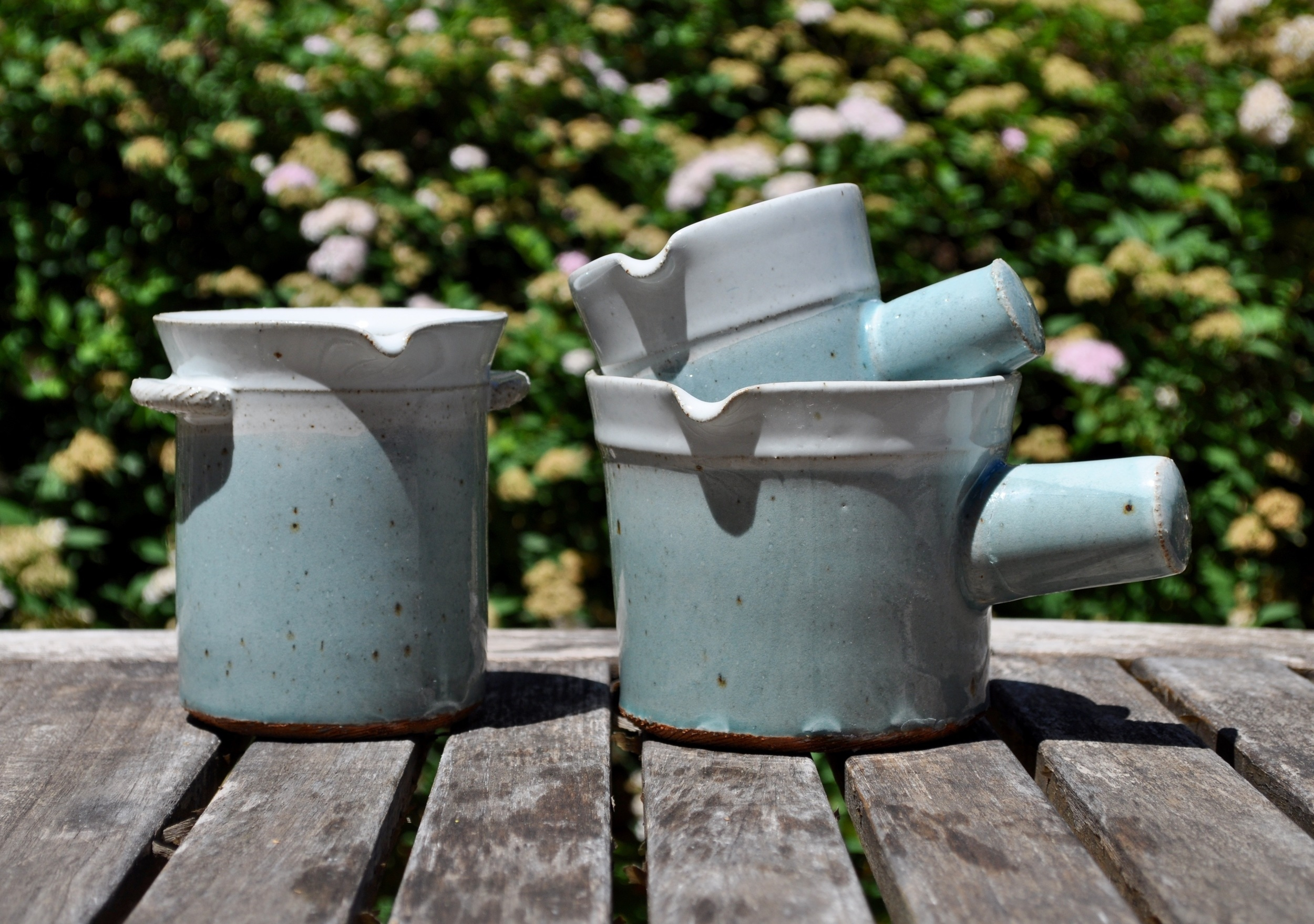 Pouring Cups, iron with stoneware, Ursula's Blue over Leach White Glaze