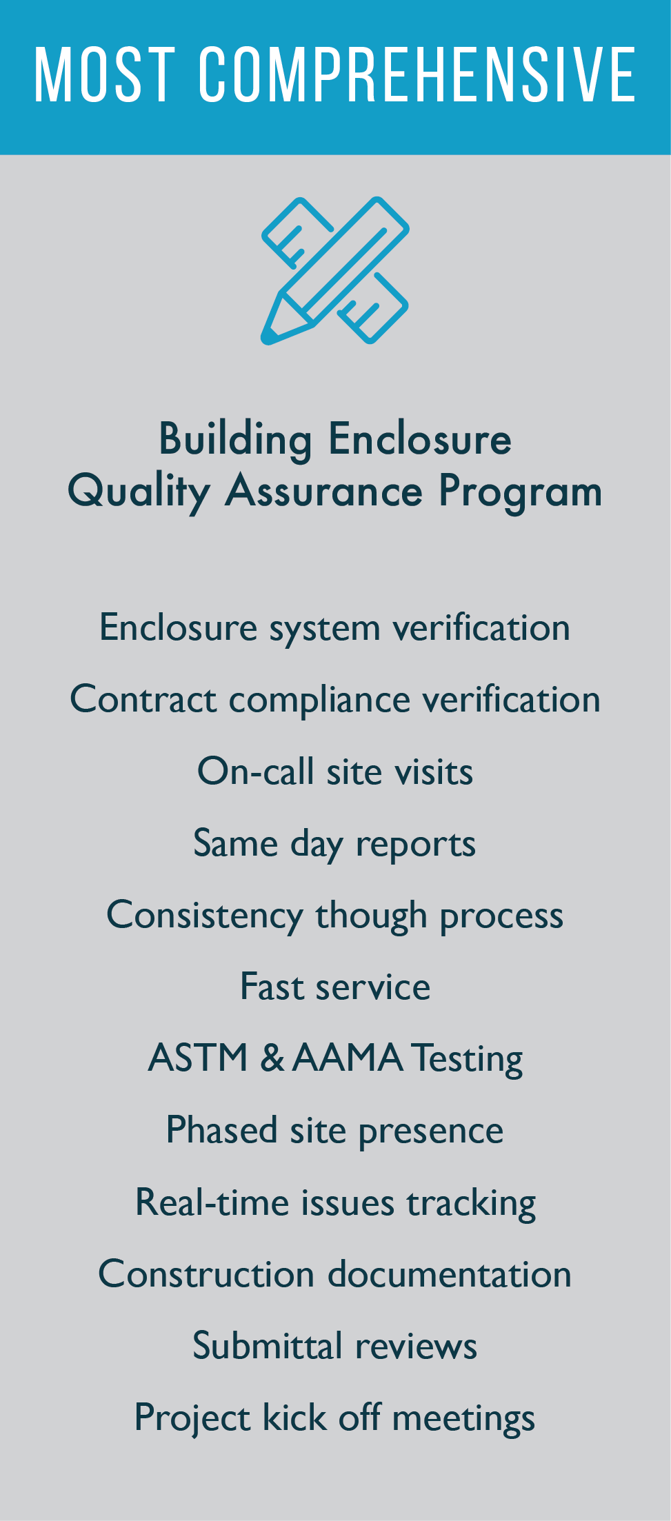 Comprehensive building enclosure quality assurance program