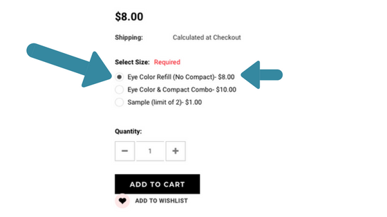 "QUICK NOTE: You must select ""EyeColor Refill (No Compact)"" in order to get the pan-only shade and the best deal"