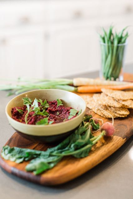 Early spring crudite with beet root humus