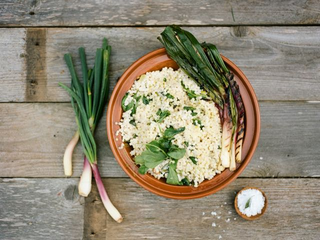 Spring Onion Couscous Risotto