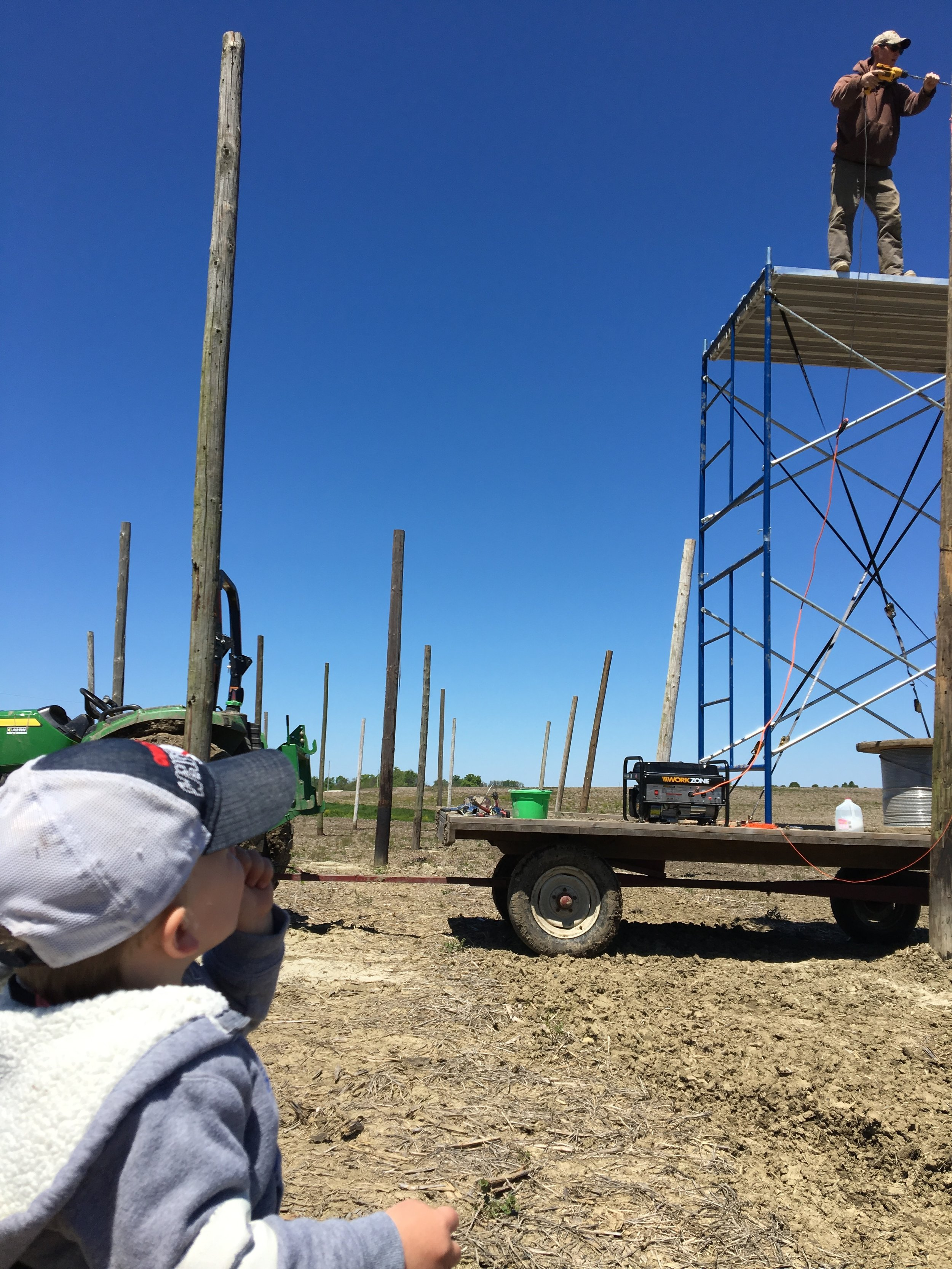 Teaching the next generation how not to use a scaffold and hay rack.