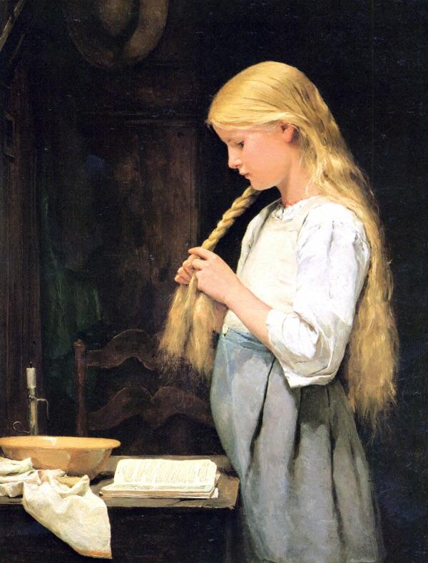Girl twisting her hair