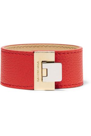 BALENCIAGA+Le+Dix+textured-leather+and+gold-tone+bracelet.jpg