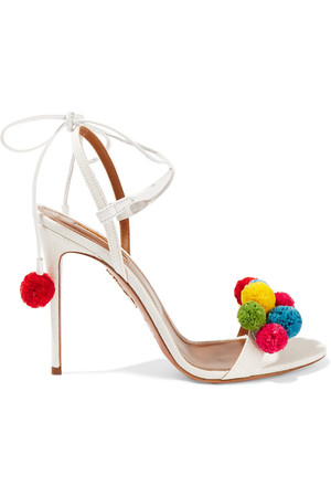 AQUAZZURA+Pompom-embellished+raffia+sandals.jpg