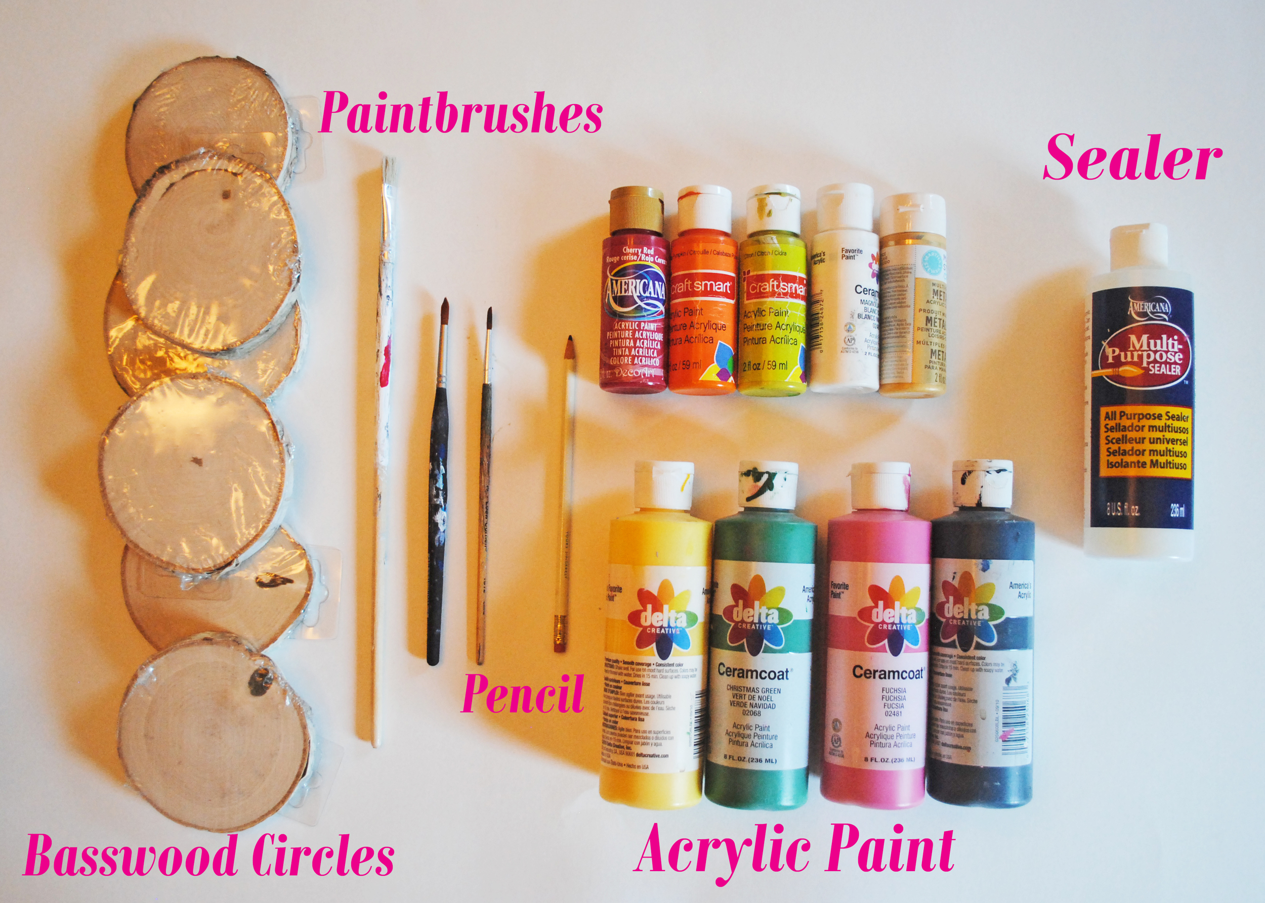 The Basswood Circles were $1 each from Michael's Craft Store and the bottle of sealer was $3 from Jo-Ann Fabrics. I already had the other paints and brushes, so the cost for this craft was $9.