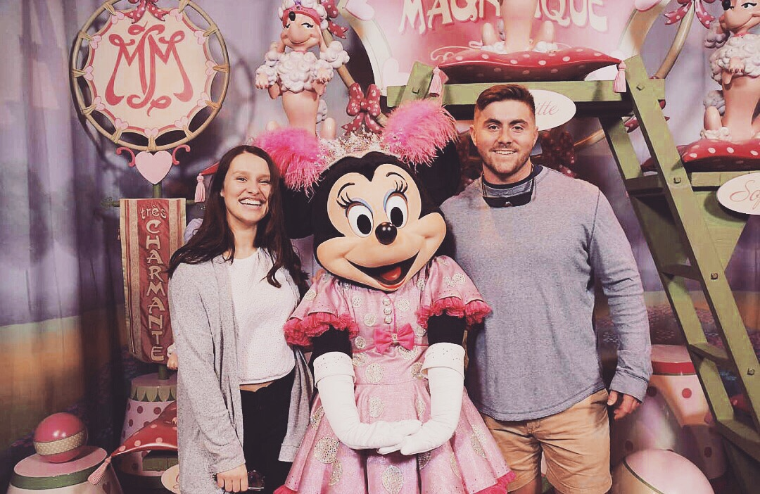 """This was my """"just got off the plane"""" outfit so nothing special here, but I wanted to include this just to show how freaking excited I was to be in a picture with Minnie. I'm pretty much a 12 year old."""