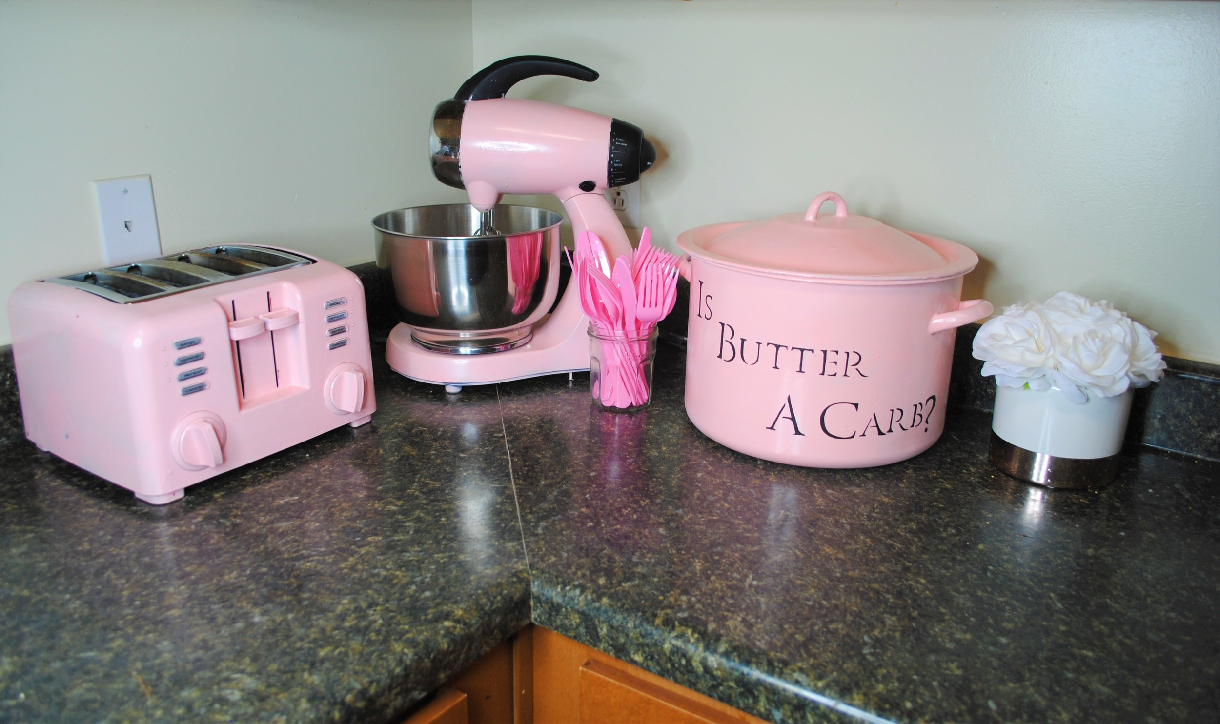 CUTE RIGHT?! I think this light pink color is girly without being too over-the-top, and I just haaaad to jazz up the bread bin with a Mean Girls quote. More on that below!