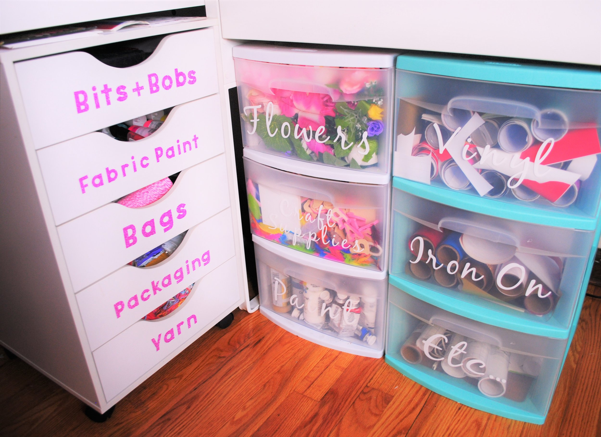 Organizing my craft drawers - I bought the white wooden drawers from Michael's craft store and the plastic ones from Walmart, and I used my cricut (can you tell how much I love this thing yet?!) to make the colorful labels for all of the drawers.