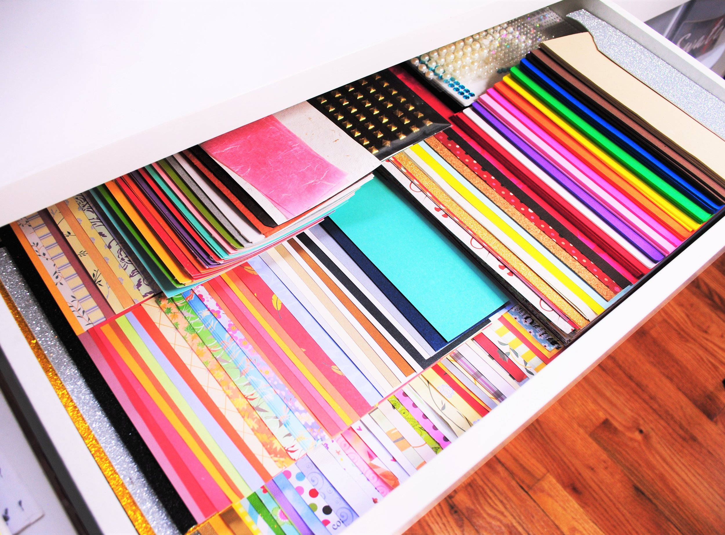 Drawer #1: Paper and Cardstock - I looove colorful paper, so this drawer full cardstock and patterned paper makes my heart sing. I make sure I can see a little bit of every paper so that I don't have to go digging through to find the right color.