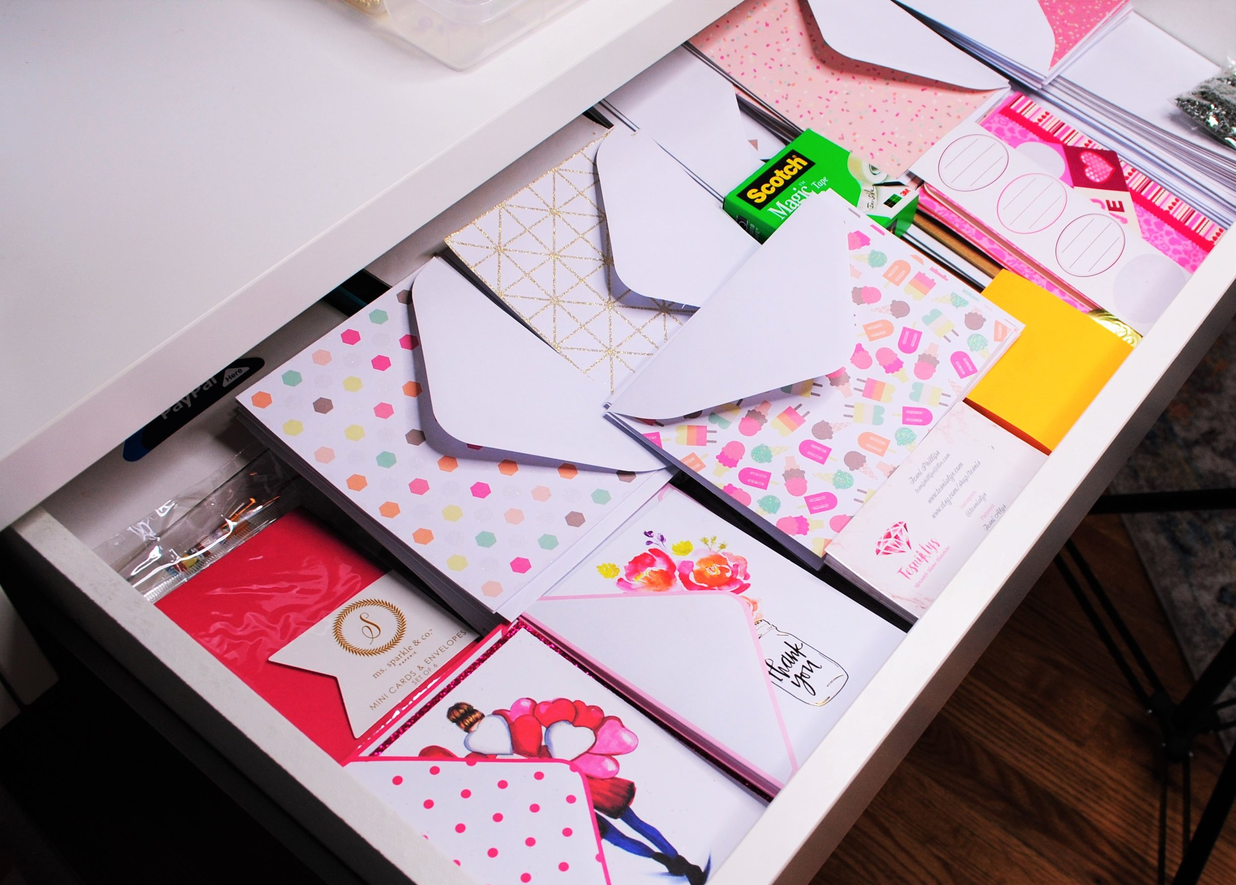 Drawer #2: Cards and Envelopes - I love writing letters and cards, so this drawer contains all of my letter writing materials. I will be sharing a post with my favorite cards from Papyrus next week, so stay tuned for that!