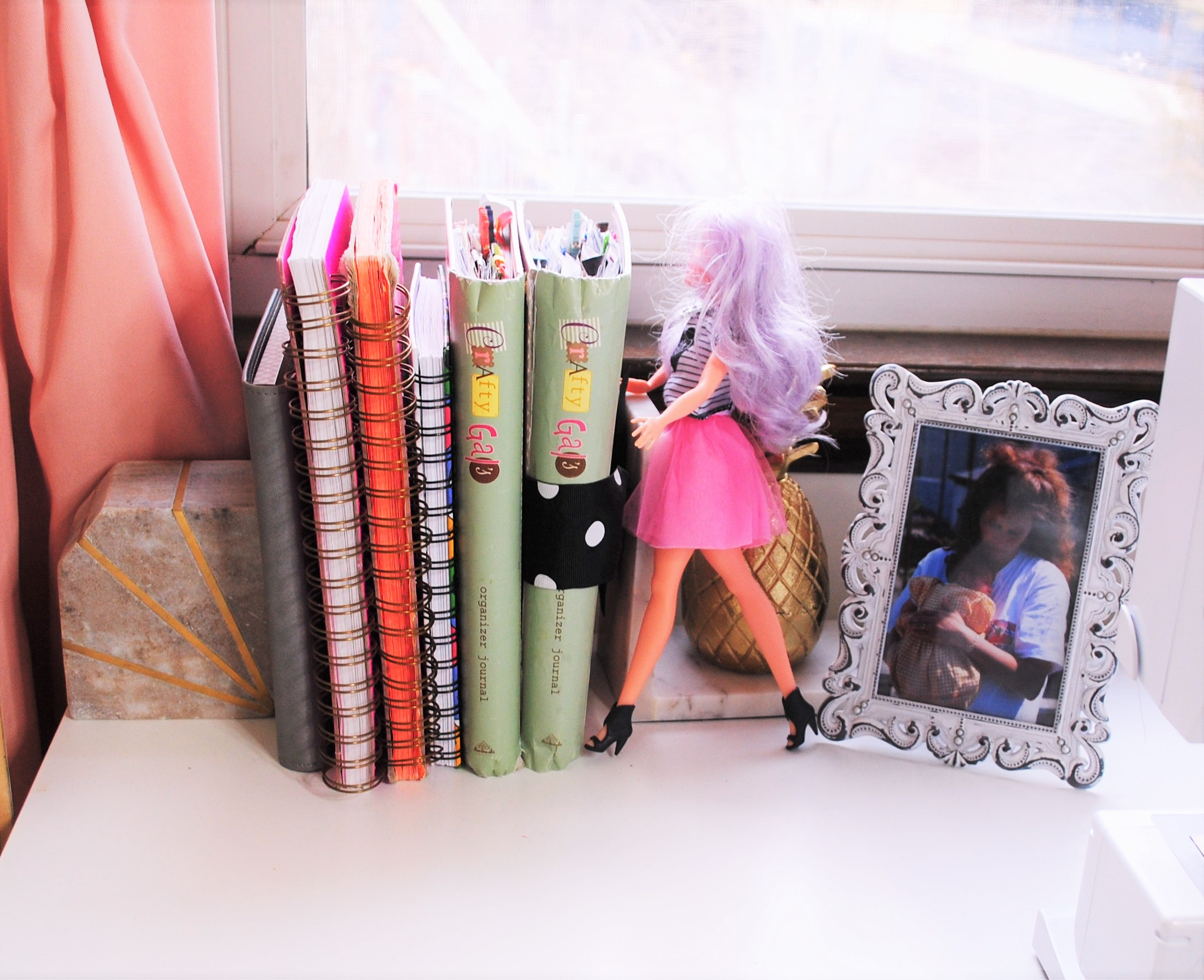 Just a few more details here- a photograph of me with my amazing mother, another fabulous Barbie doll, and a number of craft journals that are filled with colorful illustartions and creative ideas.