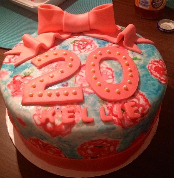 Lilly Pulitzer inspired birthday cake