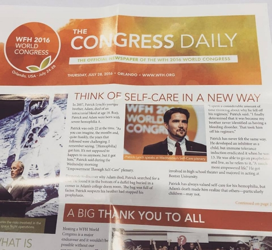 The next day, the speech was featured on the front page of WFH's The Congress Daily. Click this photo to read The Congress Daily's recap.