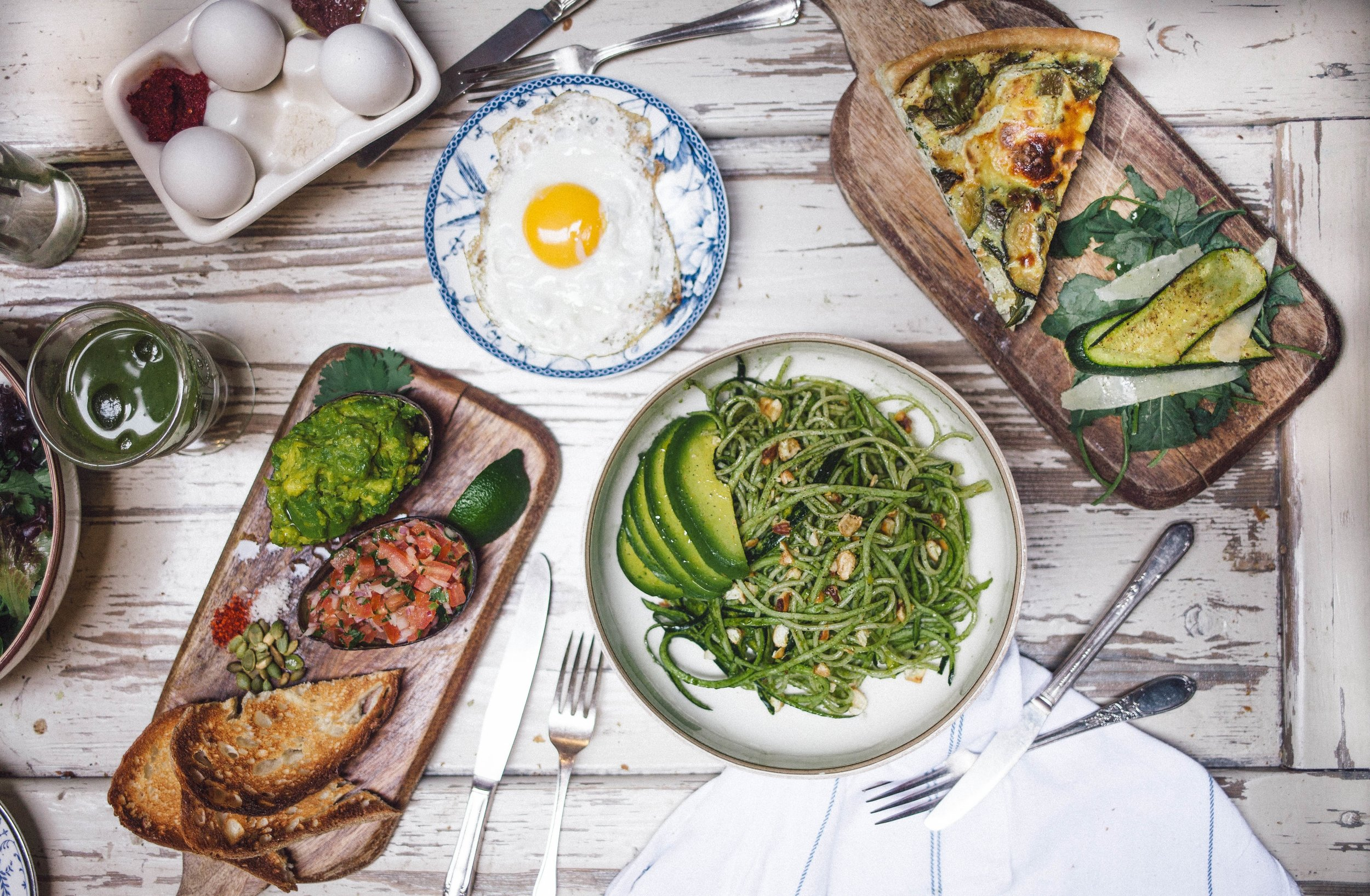 lunch with fried egg, avocado salad, quiche (Victoria Morris) 2.jpg