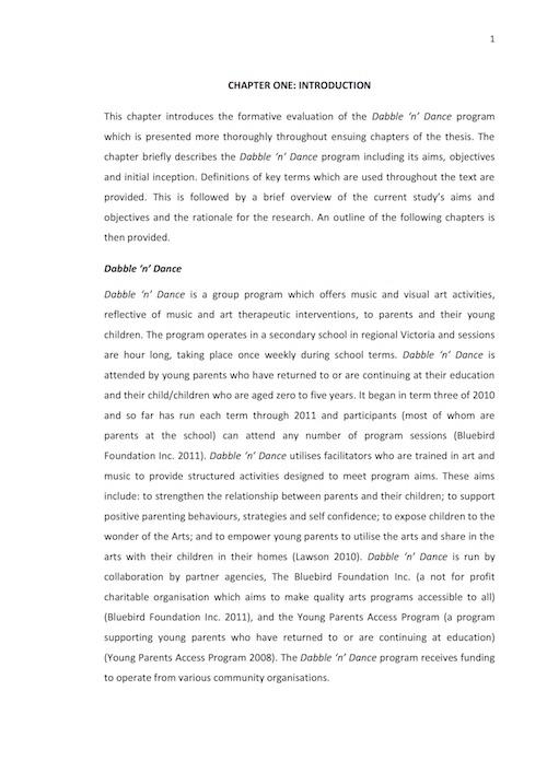 Sarah Baudinette (2011): A formative evaluation of the Dabble 'n' Dance program