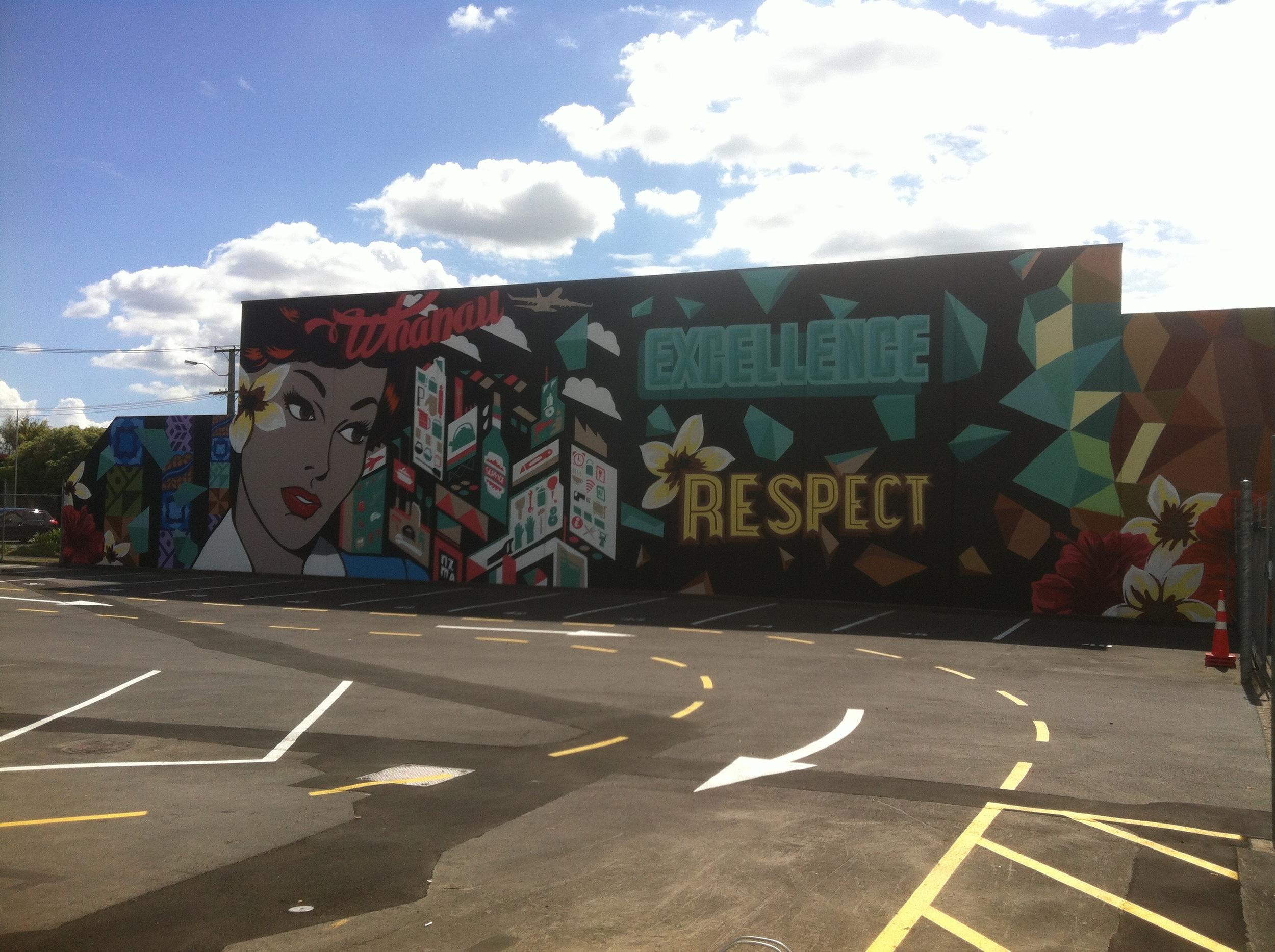 NZMA sylvia park Auckland 2014 -cut collective wall