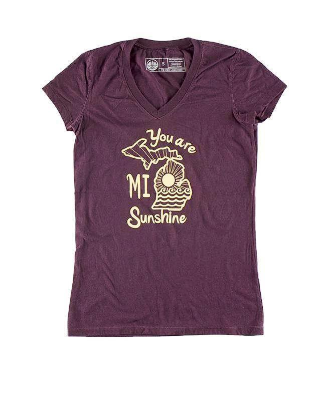 - You Are Mi Sunshine - Women's V-Neck T-Shirt (Maroon)-The Great Lakes State-