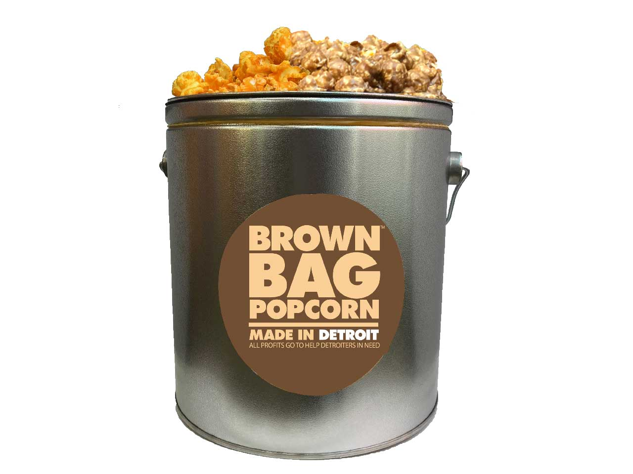 - Brown Bag Popcorn - Caramel & Cheese flavored-The Detroit Water Ice Company-