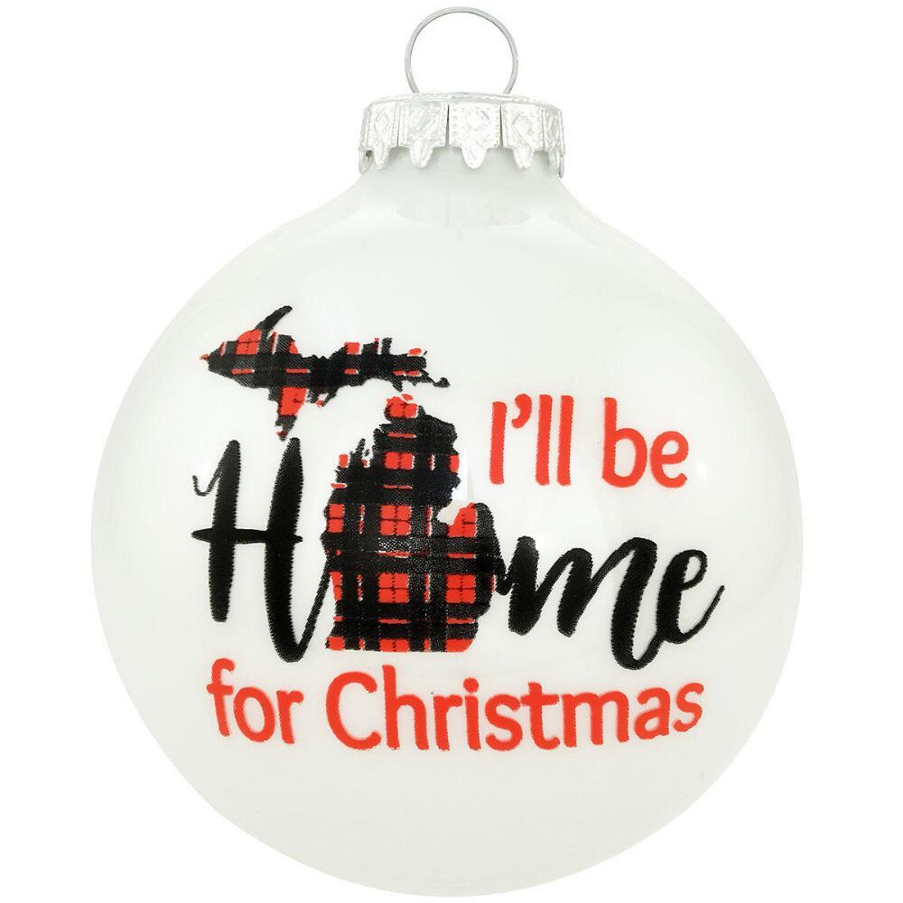 """- """"I'll Be Home For Christmas"""" Glass Ornament.-Bronner's Christmas Shop-"""