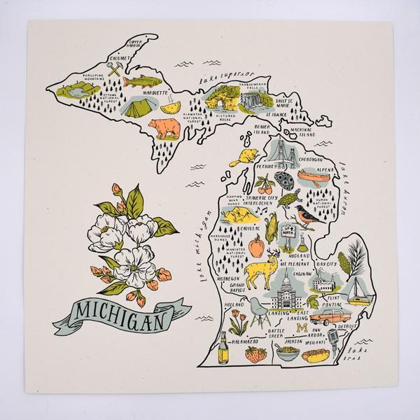 - Illustrated Michigan Map Silkscreened Art Print-City Bird Shop-