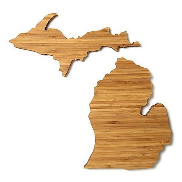 - Small Michigan Lower and Upper Peninsula State-Shaped Cutting Board Set-City Bird Shop-