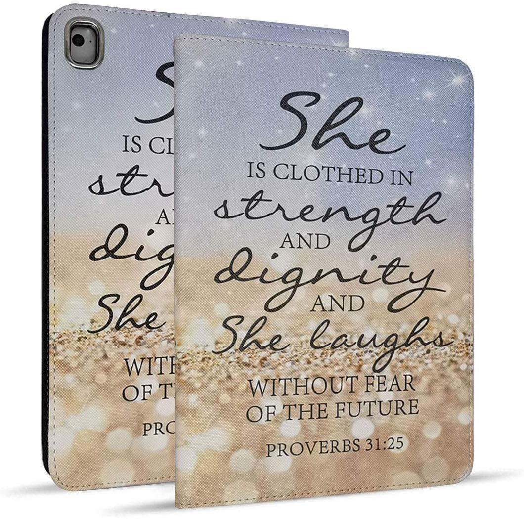 - iPad 9.7 2018/2017 Case, iPad Air 2, iPad Air, Pro 9.7 Case, Protective Leather Case, Adjustable Stand Auto Wake/Sleep Smart Case for ipad 6th/5th Gen --Rainbow Sparkling Bible Verse Proverbs 31:25-