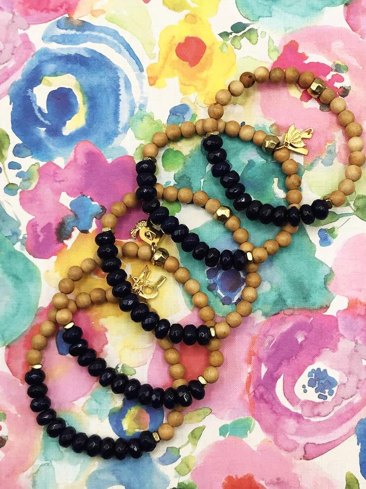 - Navy Jade + Wood Diffuser Freedom Bracelet-The Ripple Company-