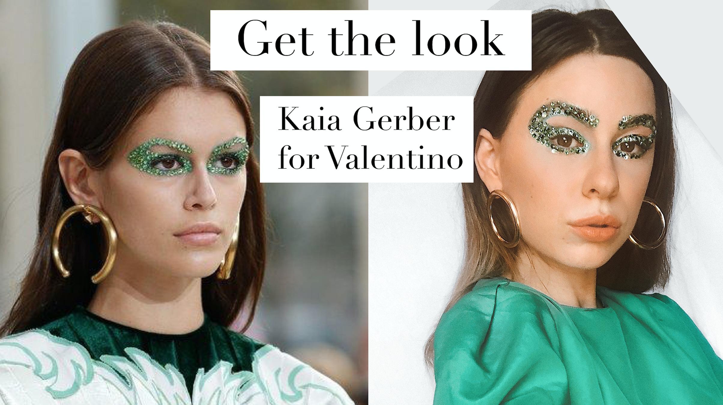 Kaia Gerber Green Crystal Eyes